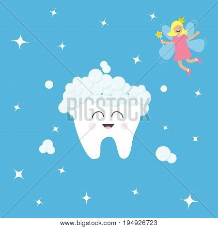 Tooth icon. Tooth fairy flying wings. Magic wand with fairy dust. Brush your teeth. Cute funny cartoon smiling character. Oral dental hygiene. Health care. Baby background. Flat design. Vector