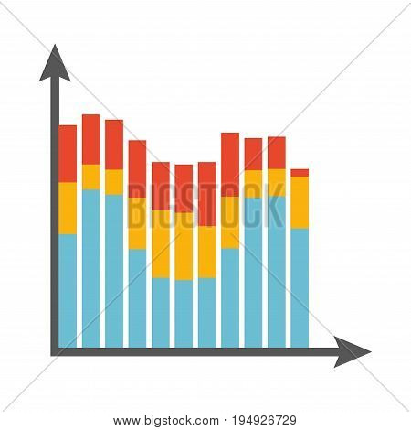 Big statistics chart with tricolored columns on binary coordinate system isolated vector illustration on white background. Convenient and understandable visual presentation of important data.