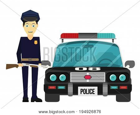 Vector illustration flat design. Police officer with car