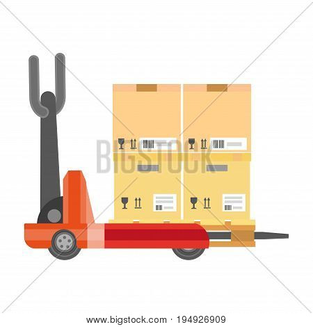 Special vehicle carrying cardboard boxes isolated on white. Vector colorful illustration in graphic design of forklift kind on wheels having collection of carton containers for their sending