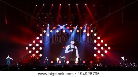 NEW YORK-JUL 7: (L-R) Donnie Wahlberg, Danny Wood, Joey McIntyre, Jonathan Knight and Jordan Knight of New Kids on the Block perform at NYCB Live on July 7, 2017 in Uniondale, New York.