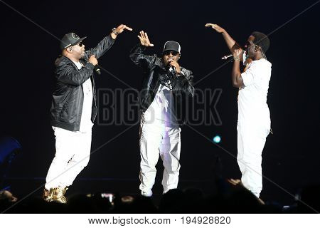 NEW YORK-JUL 7: (L-R) Wanya Morris, Nathan Morris and Shawn Stockman of Boyz II Men perform at NYCB Live at the Nassau Veterans Memorial Coliseum on July 7, 2017 in Uniondale, New York.