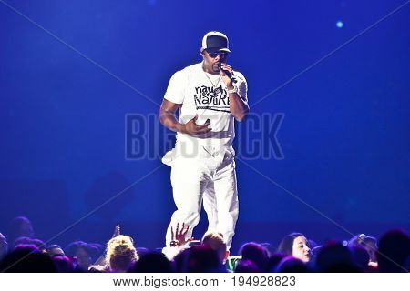NEW YORK-JUL 7: Nathan Morris of Boyz II Men performs during The Total Package Tour at NYCB Live at the Nassau Veterans Memorial Coliseum on July 7, 2017 in Uniondale, New York.