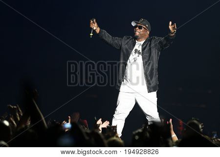 NEW YORK-JUL 7: Wanya Morris of Boyz II Men performs during The Total Package Tour at NYCB Live at the Nassau Veterans Memorial Coliseum on July 7, 2017 in Uniondale, New York.
