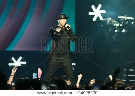 NEW YORK-JUL 7: Donnie Wahlberg of New Kids on the Block perform during The Total Package Tour at NYCB Live at the Nassau Veterans Memorial Coliseum on July 7, 2017 in Uniondale, New York.