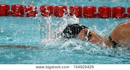 Hong Kong China - Oct 30 2016. Competitive swimmer Zsuzsanna JAKABOS (HUN) swimming freestyle. FINA Swimming World Cup Preliminary Heats Victoria Park Swimming Pool.