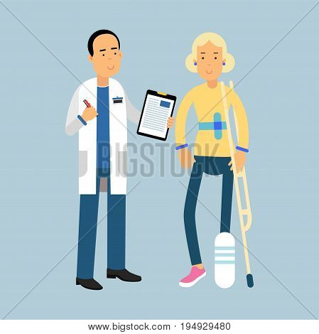 Male doctor giving recommendations to the female patient with a broken leg, vector Illustration on a light blue background