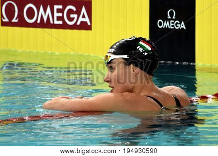 Hong Kong China - Oct 30 2016. Competitive swimmer Zsuzsanna JAKABOS (HUN) after Women's 400m Freestyle Preliminary Heat. FINA Swimming World Cup Preliminary Heats Victoria Park Swimming Pool.
