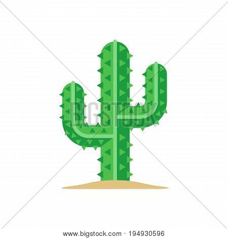 Green mexican saguaro cactus. Flat icon. Vector illustration isolated on white background
