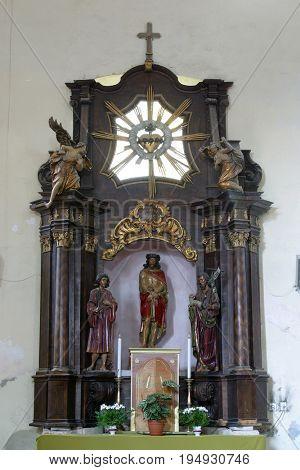 DONJA KUPCINA, CROATIA - NOVEMBER 14: Bound Jesus, altar in Parish Church of Saint Mary Magdalene in Donja Kupcina, Croatia on November 14, 2010.