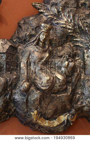 ZAGREB, CROATIA - MARCH 31: Saint Elizabeth, bass relief in Chapel of Saint Dismas in Zagreb, Croatia on March 31, 2015