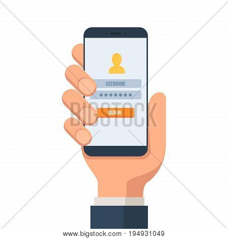 Sign in page on the screen of the smartphone. The hand holds a smartphone. Login to the mobile account. Vector illustration in flat style isolated on white background