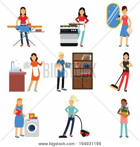 Housewife in housework activity set, homemaker cleaning and housekeeping vector Illustrations isolated on white background