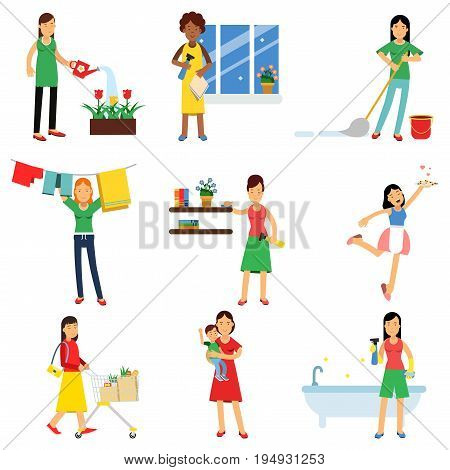 Modern housewife in housework activity set, homemaker cleaning, housekeeping, caring for a child vector Illustrations isolated on white background