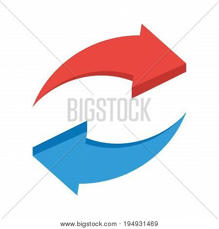 Red and blue two arrows. Rotation arrows icon. Vector illustration in flat style isolated on white background