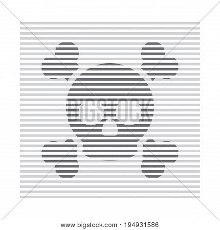 Skull and bones lines design. Cyber crime and web pirate symbol. Piracy on the Internet. Vector illustration in modern style