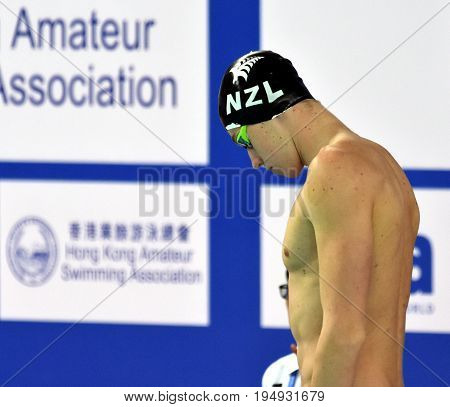 Hong Kong China - Oct 30 2016. Competitive swimmer HUNTER Daniel (NZL) before the Men's Freestyle 50m Preliminary. FINA Swimming World Cup Finals Victoria Park Swimming Pool.