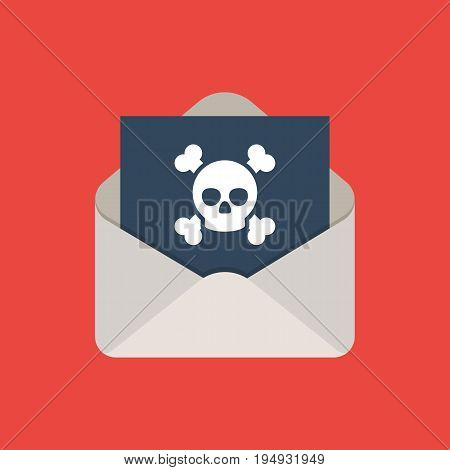 Infected email icon. An opened envelope with virus inside. Vector illustration in flat style on red background