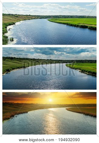 set of rivers in day and sunset