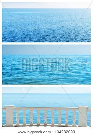 set of different view to blue sea. rest concept