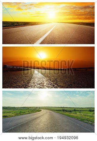 set of asphalt roads in sunset