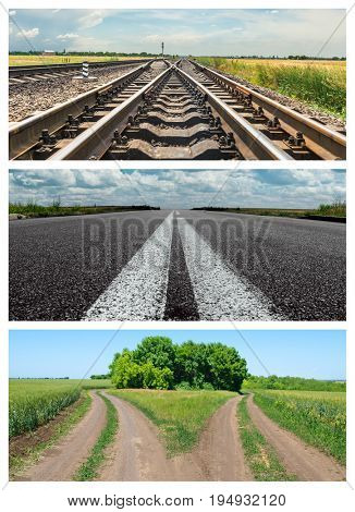 set of different roads. Rural, asphalt and rail to horizon