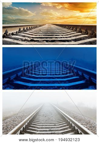 set of various time over railroad. Sunset, night and fog in morning