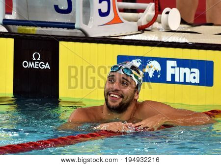 Hong Kong China - Oct 30 2016. Olympic and world champion swimmer LE CLOS Chad (RSA) after the Men's Freestyle 50m Preliminary Heat. FINA Swimming World Cup Victoria Park Swimming Pool.