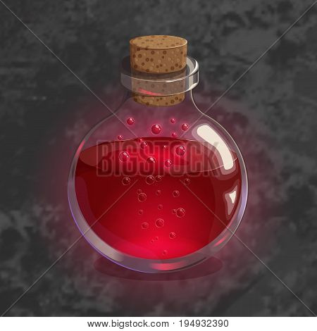 Bottle with red potion. Game icon of magic elixir in cartoon style. Bright design for app user interface. Life, love, blood, rage, fury, damage. Vector illustration. Icons Collection.