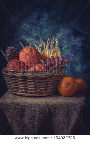 Still life style of rot baby jackfruit and dry corn in old basket