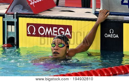 Hong Kong China - Oct 30 2016. Jamaican swimmer and olympian Alia Atkinson after the Women's Breaststroke 200m Preliminary Heat. FINA Swimming World Cup Victoria Park Swimming Pool.