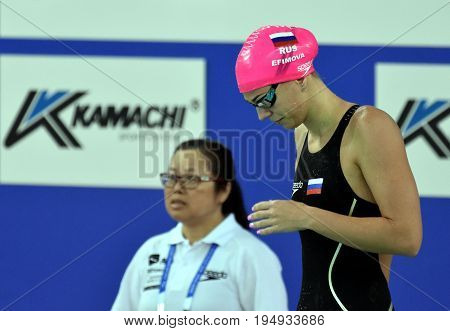 Hong Kong China - Oct 30 2016. Russian olympian and world champion breaststroke swimmer Yulia Yefimova at the start of the Women's Breaststroke 200m Preliminary Heat. FINA Swimming World Cup.