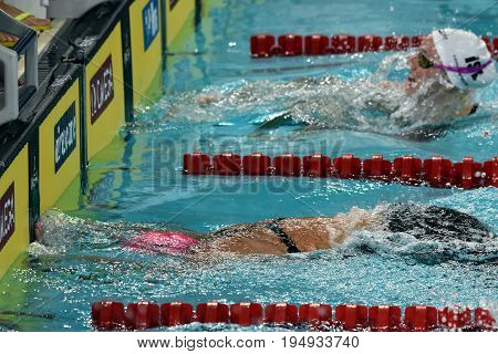 Hong Kong China - Oct 30 2016. Russian olympian and world champion breaststroke swimmer Yulia Yefimova swimming in the Women's Breaststroke 200m Preliminary Heat. FINA Swimming World Cup.