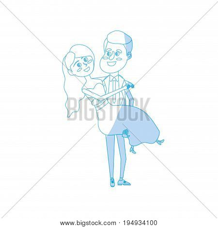 silhouette happy couple married and man carrying his wife vector illustration