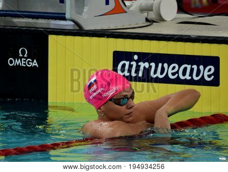 Hong Kong China - Oct 30 2016. Russian olympian and world champion breaststroke swimmer Yulia Yefimova after the Women's Breaststroke 200m Preliminary Heat. FINA Swimming World Cup.