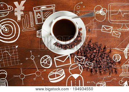 Digitally generated image of business computer icons against overhead view of coffee cup with beans and spoon