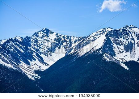 Rocky Mountain and Blue Sky in Banff National Park