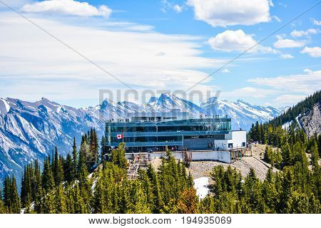 Glassy Building at the Middle of the Rocky Mountains at Jasper National Park