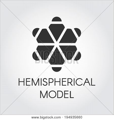 Black flat icon of hemispherical model. Pictograph of chemical series. Half-sphere molecular label. Vector logo on a gray background