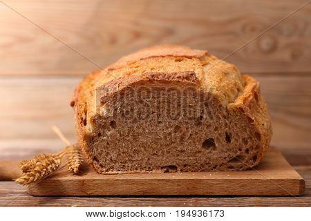 bread on wooden board