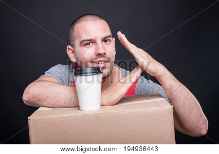 Mover Guy Making Time Out Gesture Having Coffee