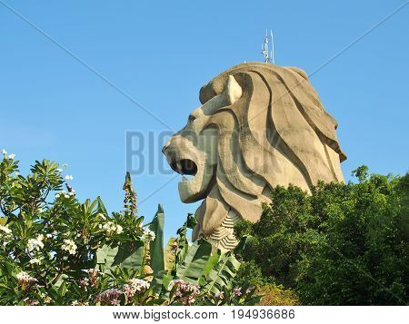 SINGAPORE - MAY 9, 2015: Side view of Merlion Statue at Sentosa island, Singapore.