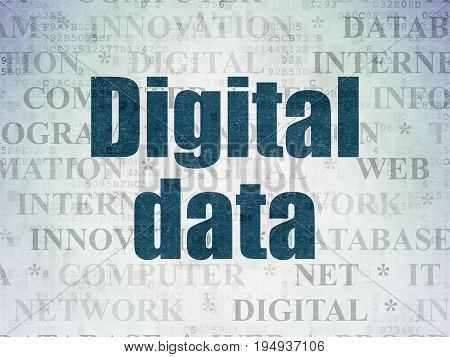 Data concept: Painted blue text Digital Data on Digital Data Paper background with   Tag Cloud
