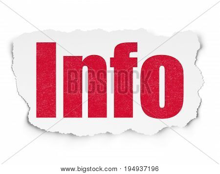 Information concept: Painted red text Info on Torn Paper background with  Tag Cloud