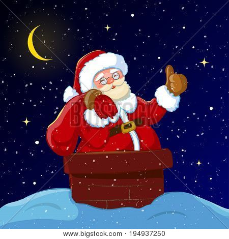 Santa Claus with sack of gifts partially a chimney.Christmas or New Year holiday art. Vector illustration. Great choice for gift or greeting cards, poster or banner.