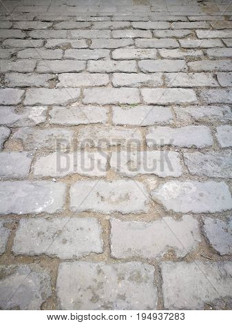 Perspective view of ruined ancient walkway, for texture and background, taken in China