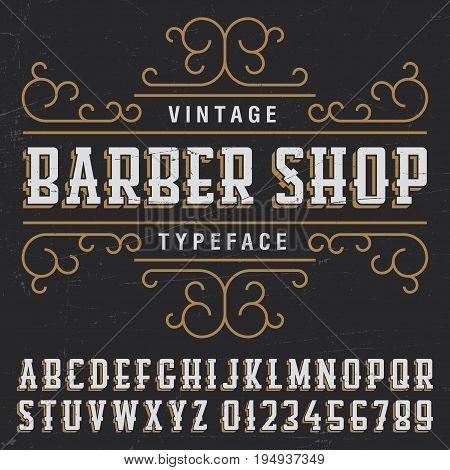 Vintage barber shop typeface poster with sample label design on black background vector illustration