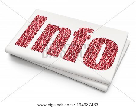 Information concept: Pixelated red text Info on Blank Newspaper background, 3D rendering