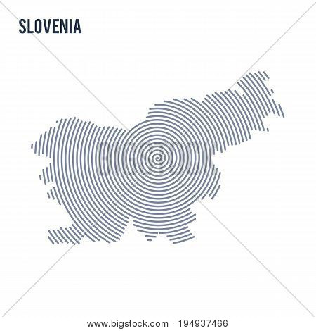 Vector Abstract Hatched Map Of Slovenia With Spiral Lines Isolated On A White Background.