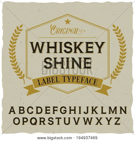 Whiskey shine poster with decoration and ribbon on dusty background vector illustration